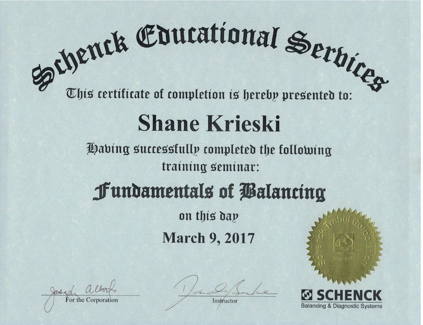 Acme Armature Works service technician earns balancing training certification